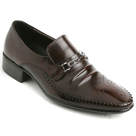 mens loafers with buckle s brown cow leather punching stitch loafers buckle shoes