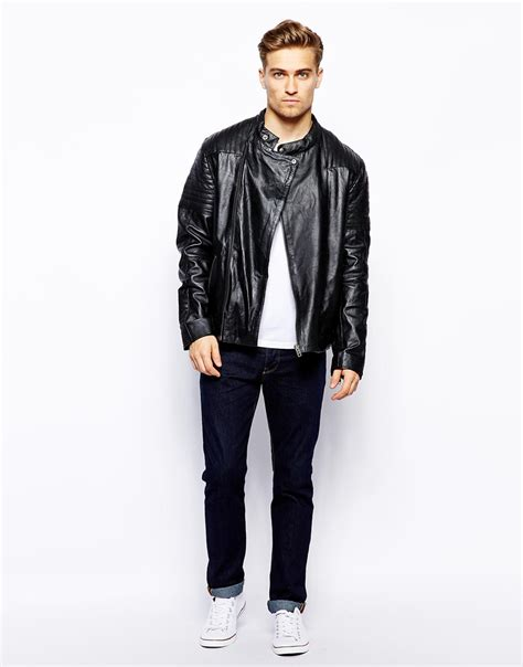 barneys s leather jacket barneys originals barneys premium leather biker jacket in black for lyst