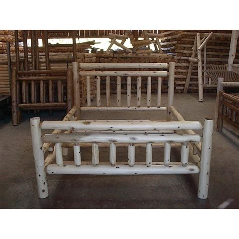 Log King Bed Frame White Cedar Log Rustic Bed King Furniturebarusa