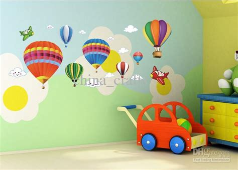 Wall Murals For Schools wholesale removable hot air balloon wall stickers airplane