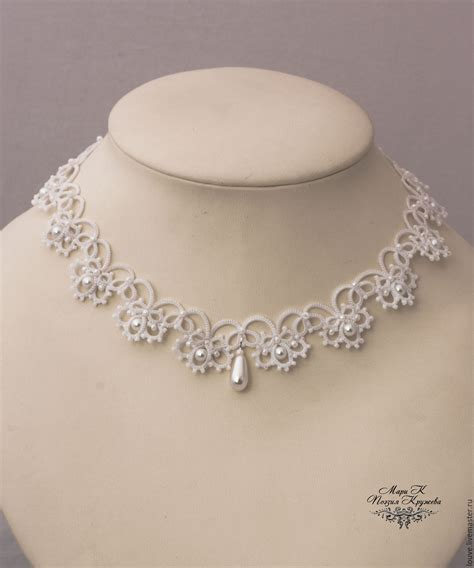 Handmade Wedding Jewellery - wedding necklace white lace choker tatting