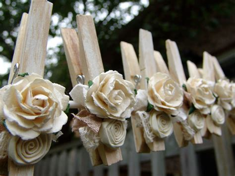 Shabby Chic Clothes Pins Decorated Clothing Pegs Set Of 6 Shabby Chic Pajamas