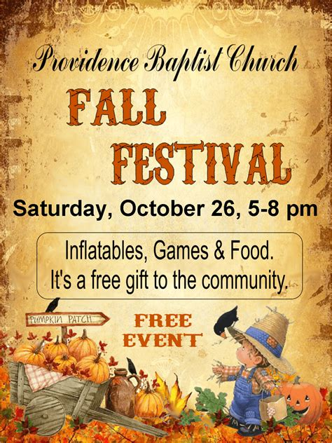 fall festival flyer templates free providence baptist church invites everyone out to their