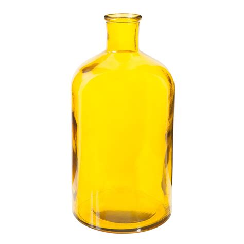 Decorative Glass Bottle Yellow H 28cm Maisons Du Monde
