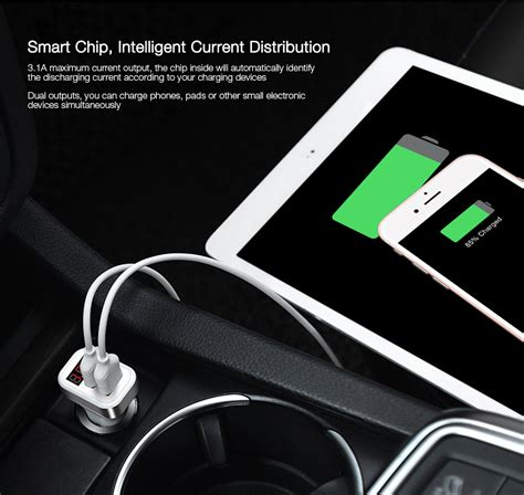 Hoco Car Multi Charger With 4 Power Outlet hoco z3 smart car charger dual usb white