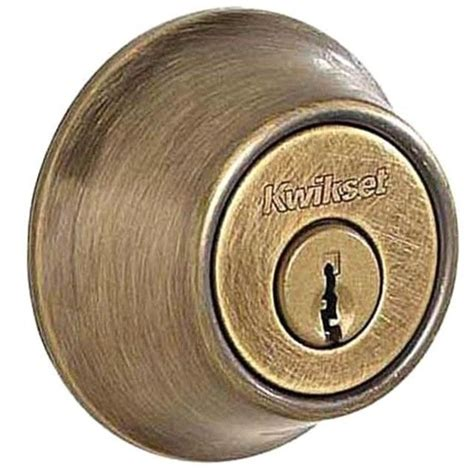 kwikset deadbolt template new kwikset 665 cylinder deadbolt antique brass