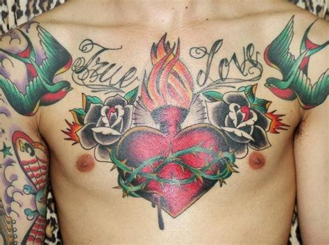 heart chest piece tattoo designs chest design busbones