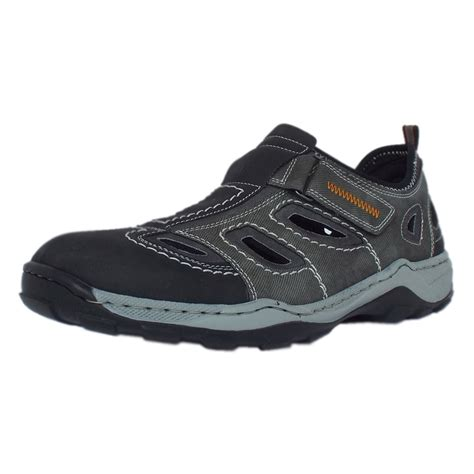 mens shoes rieker sandals barton mens summer shoes in grey textile