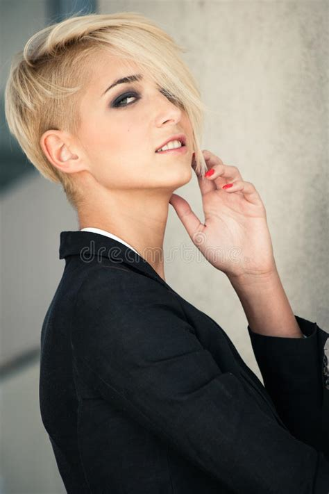 short hair blondes being feminized short hair blonde woman stock photo image 45180891