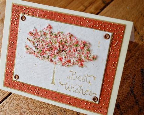 Handmade Best Wishes Cards - engagement card wedding card best wishes card tree with gold