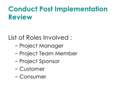 post implementation review template project closing