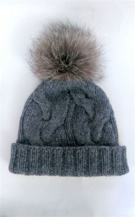 knit hat with fur pom pom grey cable knit hat with pom pom wool apaca cabled