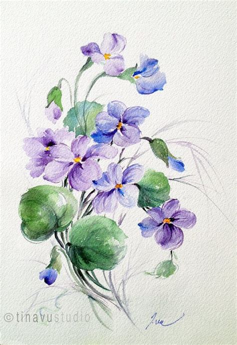 watercolor tattoo violets violet flowers violet painting february birthday