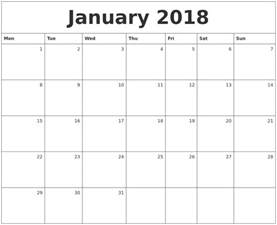 Calendar 2018 January January 2018 Monthly Calendar