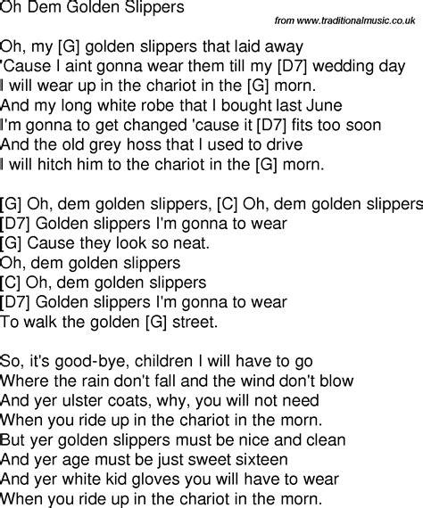 oh dem golden slippers time song lyrics with guitar chords for oh dem golden