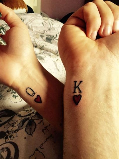 couple tattoo k q 50 king and queen tattoos for couples herinterest com