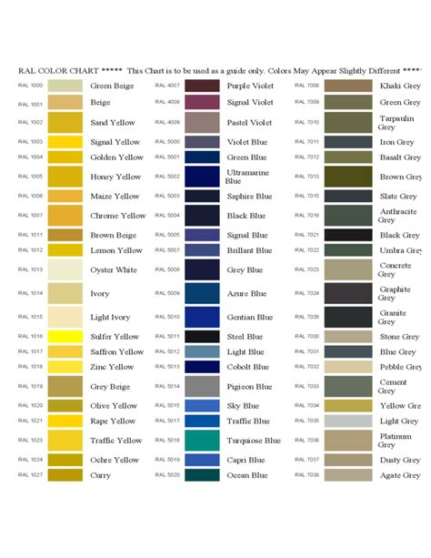 sample ral color chart free download