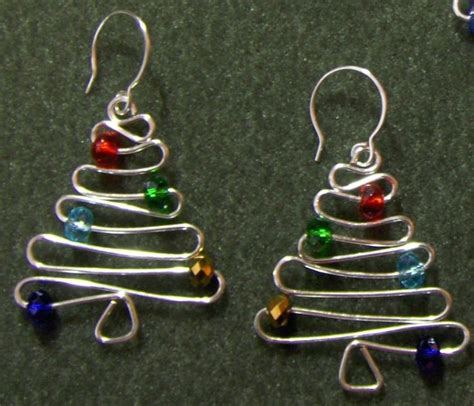christmas tree earrings cute wire metal art wire