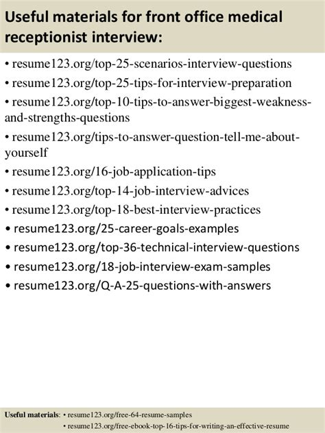 front desk medical receptionist top 8 front office medical receptionist resume sles