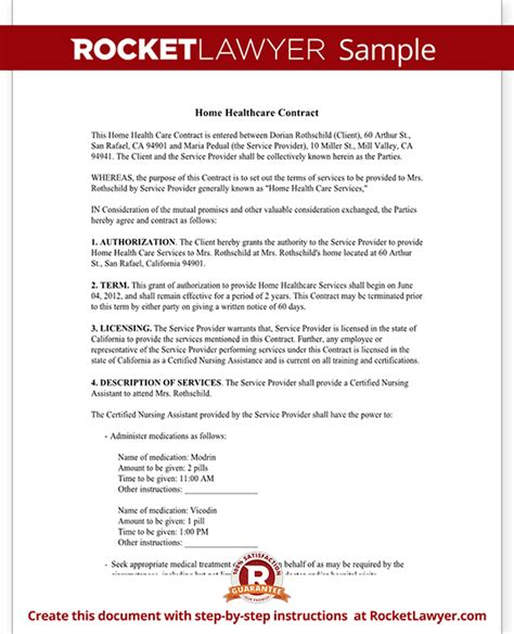 home health care contract agreement template with sle