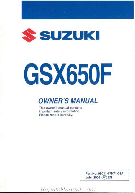 suzuki gsxf motorcycle owners manual