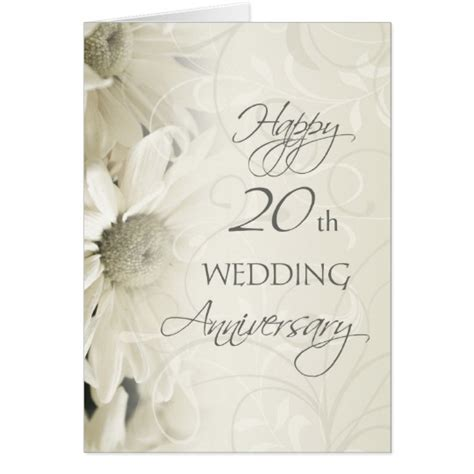 white flowers happy 20th wedding anniversary card zazzle co uk