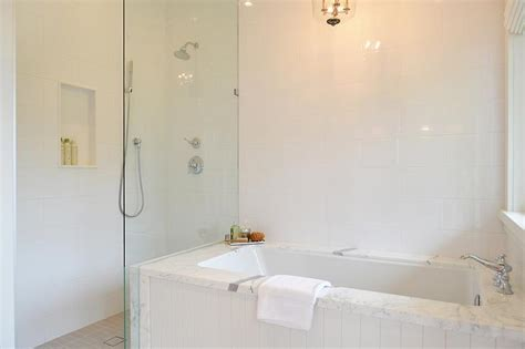 shiplap tub surround shiplap clad tub next to open shower transitional bathroom