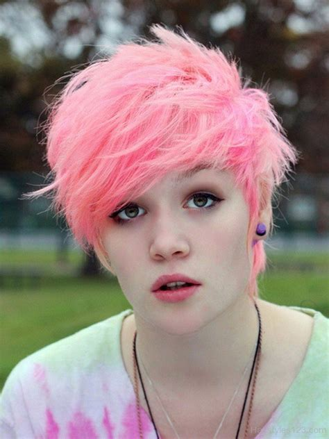 hairstyles short hair pink colored hairstyles