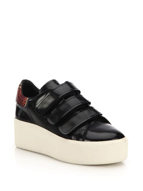 leather sneakers ash cool leather platform sneakers in black lyst