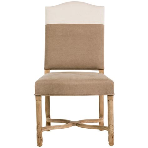 Monaco French Country Brown White Upholstered Dining Chair White Upholstered Dining Chair