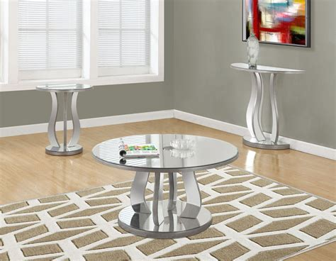 brushed silver table brushed silver mirror 36 quot occasional table set from monarch