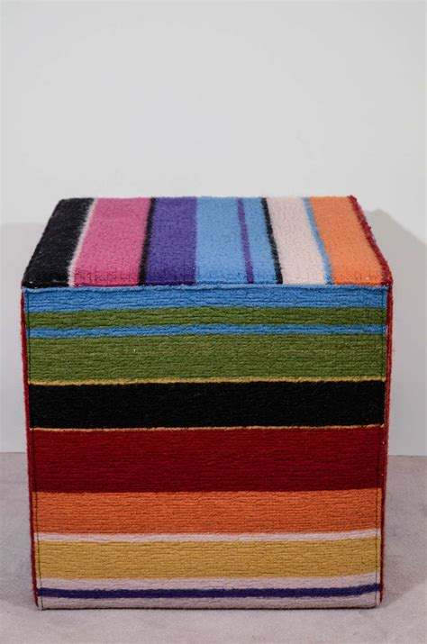 colored ottomans vintage multi colored cube shaped pouf by missoni at 1stdibs