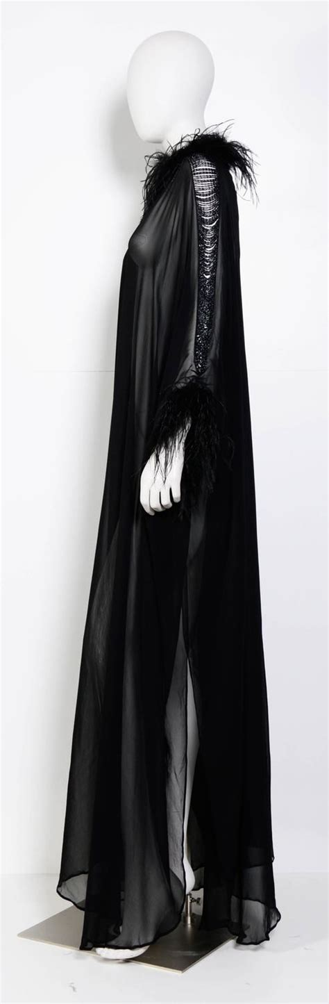 Dress Gucci V Black Ro Dress Wanita Babyterry Hitam 6 vintage loris azzaro couture 70 s black silk feather and chain caftan dress for sale at 1stdibs