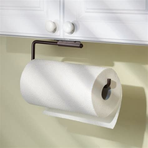 paper towel holder in cabinet interdesign swivel kitchen paper towel holder wall mount