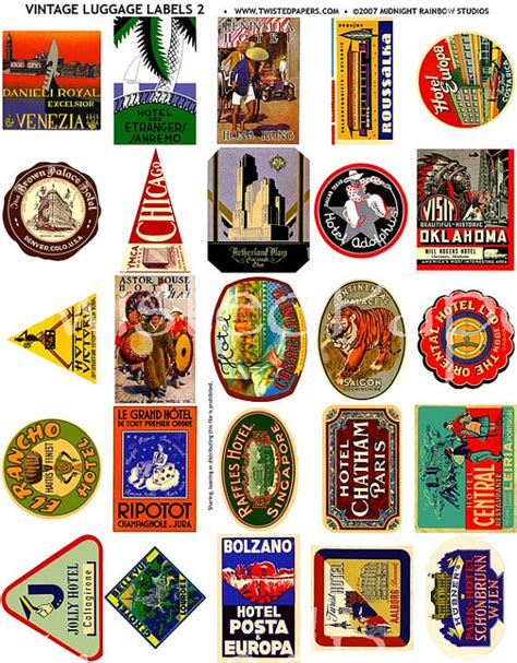 printable suitcase stickers 25 luggage labels vintage international and american travel