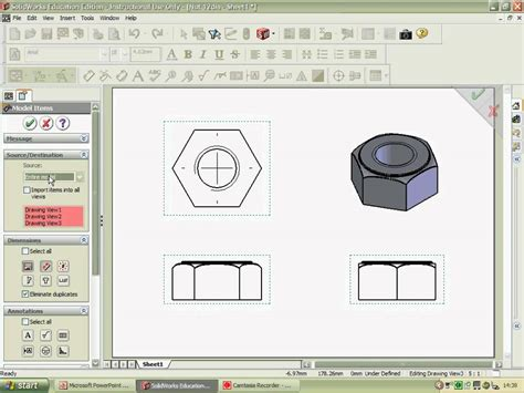 autocad nut tutorial 2d engineer s drawing nut 2 mov youtube