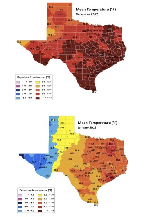 texas average temperature map tcn seasonal shift trend toward milder winters a factor in warming climate