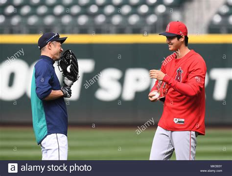 ichiro suzuki of the seattle mariners and shohei ohtani of