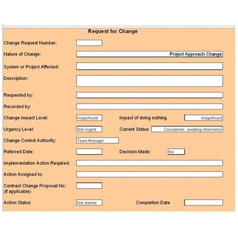 free change control template download customize for