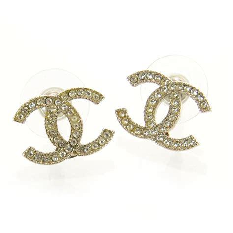 chanel cc logo earrings silver 36418
