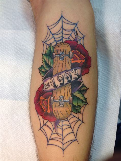 blue fin tattoo school skateboard by blue fin tattoos