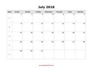 Calendar 2018 Blank Blank Calendar For July 2018