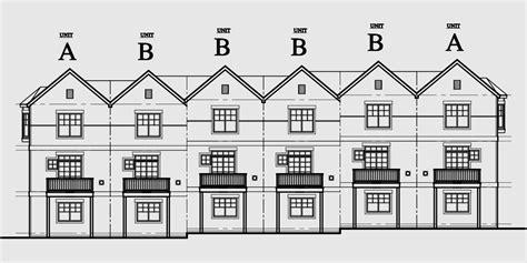 row house plan design row house plans town home plans six units tandem garage