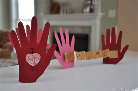 card craft for children diy handprint i you this much card craft