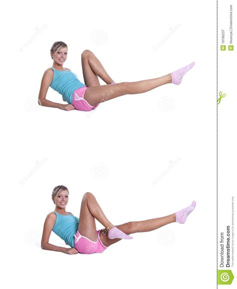 young woman  exercises  abdominal press stock image image  body aerobics