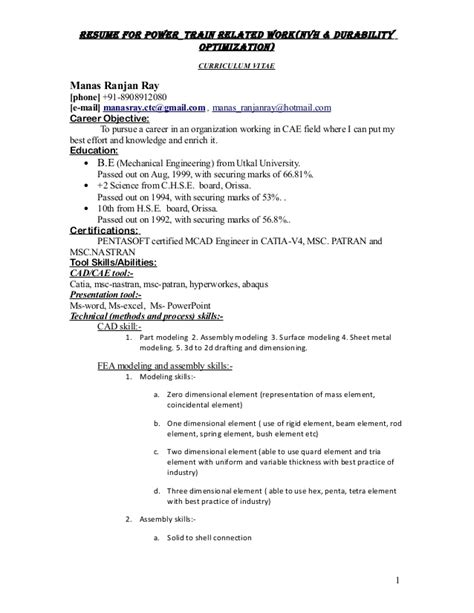 Resume And Cv Optimization Resume For Power Requirement