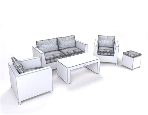 synthetic wicker outdoor furniture garden furniture synthetic rattan set 3d model max obj fbx cgtrader