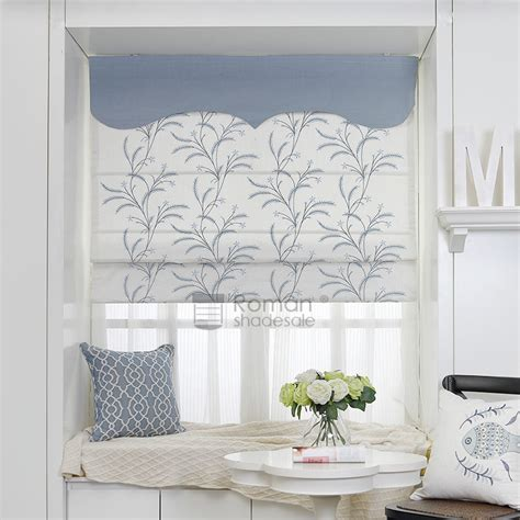 patterned fabric roman shades modern botanical pattern embroidery flat shaped fabric for