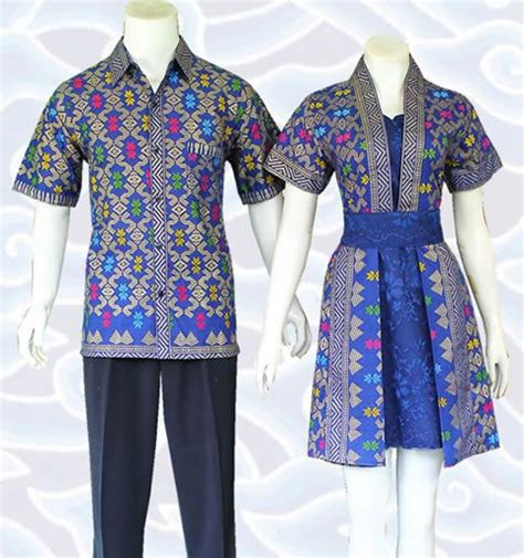 Dress Batik Kombinasi Katun batik dress sarimbit biru kombinasi broklat dan