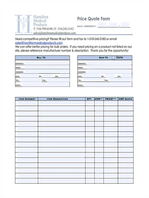 price quote forms  ms word  excel